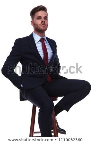 Portret dumny biznesmen posiedzenia stołek Zdjęcia stock © feedough