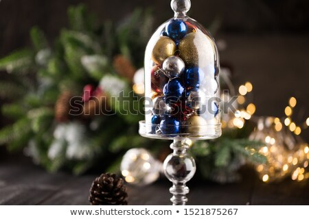 Gifts with christmas decoration on wooden cake stand Stock photo © Melnyk