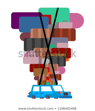 Car and lot suitcases. Move Long journey. Vector illustration Stock photo © MaryValery