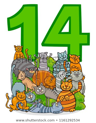 number fourteen and funny cats group Stock photo © izakowski