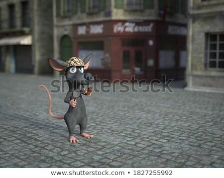 Foto stock: Cartoon · sonriendo · detective · ratón · feliz · sombrero