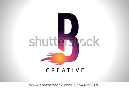 Magenta lettre feu icône vecteur Photo stock © cidepix