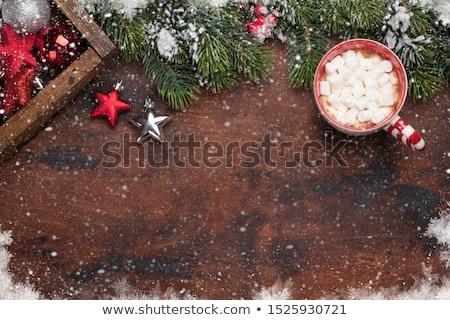 Karácsony dekoráció mályvacukor karácsony fenyőfa ajándék doboz Stock fotó © karandaev