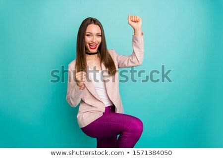 Iskolás lány zöld blézer siker pozitív szett Stock fotó © toyotoyo