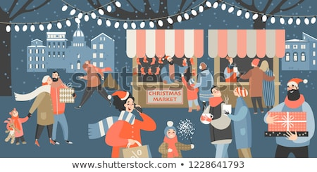 Stock photo: Christmas card with gift boxes and mulled wine