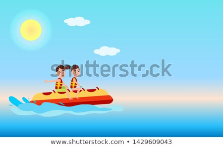 Banana Boat Web Poster with Text, Summer Sport Stock photo © robuart