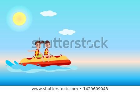 Cartoon · лодка · белый · облака · глаза · глазах - Сток-фото © robuart