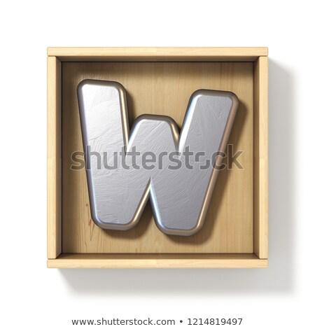 Gümüş Metal w harfi ahşap kutu 3D Stok fotoğraf © djmilic