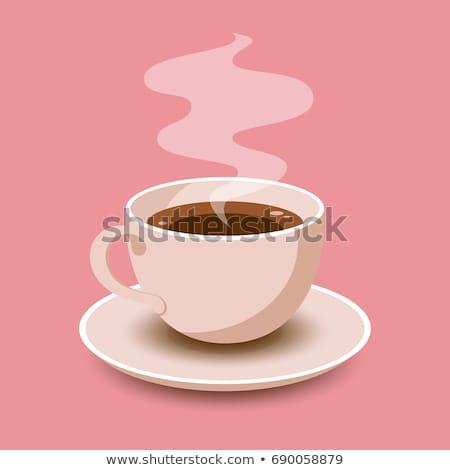 Tazza di caffè poster in bianco e nero sketch contorno Foto d'archivio © robuart