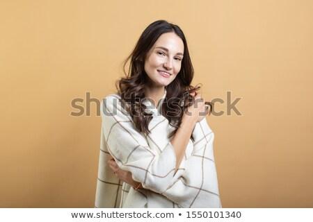 Kép bájos nő 20-as évek hosszú haj mosolyog Stock fotó © deandrobot