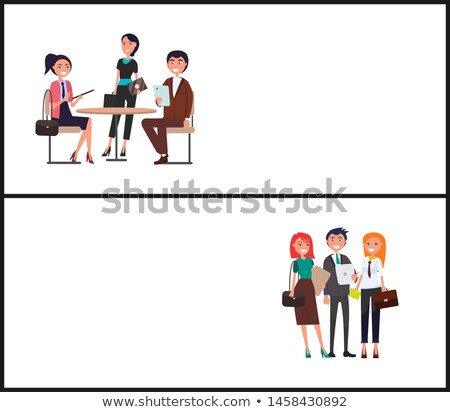 Teamwork Promo Poster with Young Employees Set Stock photo © robuart