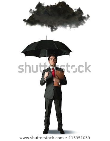 Empresário guarda-chuva preto nuvem chuva crise Foto stock © alphaspirit