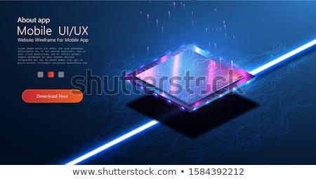 マイクロチップ プロセッサ ライト ヘッダ バナー 青 ストックフォト © limbi007