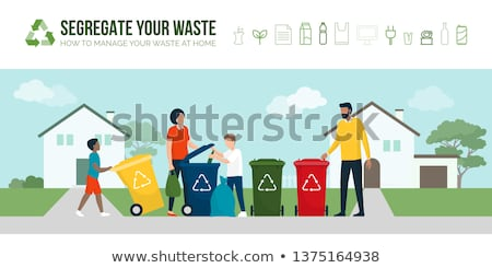 Sorting And Cleaning Garbage Vector. Recycle Bins. Separation. Dump. Ecological Problem. Isolated Fl Stock photo © pikepicture