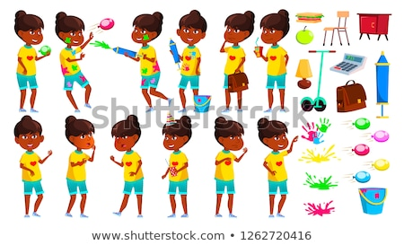 Indian Girl Poses Set Vector. Primary School Child. Education. Casual Clothes. Hindu. Asian. For Adv Stock photo © pikepicture