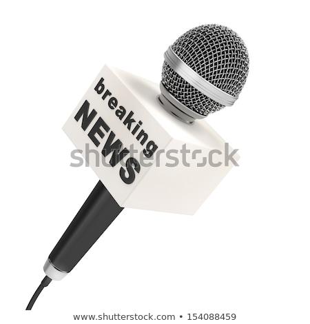 3D doboz mikrofon rendkívüli hírek renderelt kép szó Stock fotó © nasirkhan