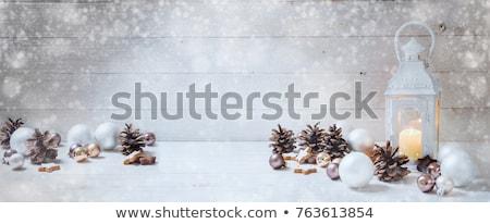 natal · bugiganga · cena · dourado · neve · árvore - foto stock © neirfy