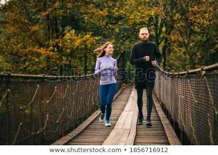 Dois meninas corrida ponte ilustração Foto stock © colematt