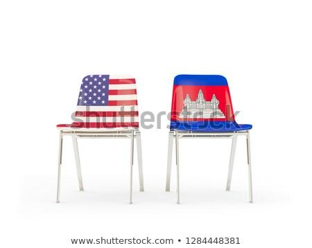 Dois cadeiras bandeiras Camboja isolado branco Foto stock © MikhailMishchenko