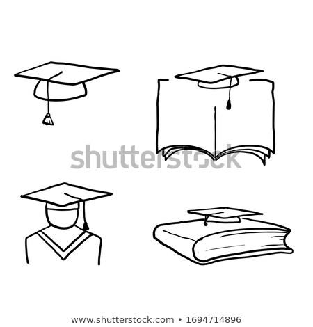 afgestudeerden · schets · icon · vector · geïsoleerd - stockfoto © rastudio
