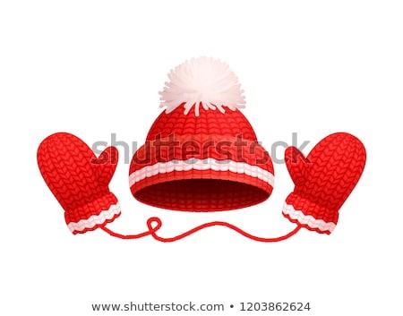 Zimą ciepły czerwony hat biały trykotowy Zdjęcia stock © robuart