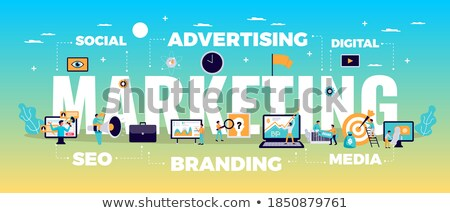 isometric flat vector landing page template of content strategy stock photo © tarikvision