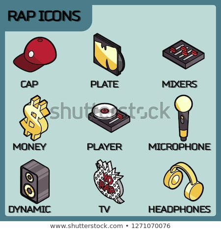 Rap color outline isometric icons Stock photo © netkov1