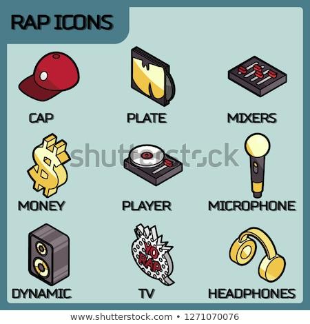 rap color outline isometric icons stock photo © netkov1