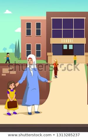 Muslim Mutter Tochter Schule Illustration Mädchen Stock foto © artisticco