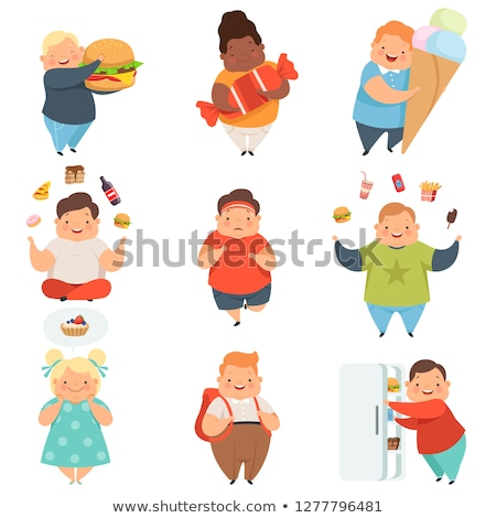 Set of chubby kids character Stock photo © bluering
