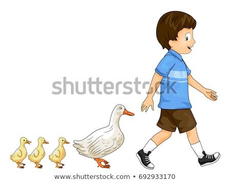 Kid garçon canard défilé coloré illustration Photo stock © lenm