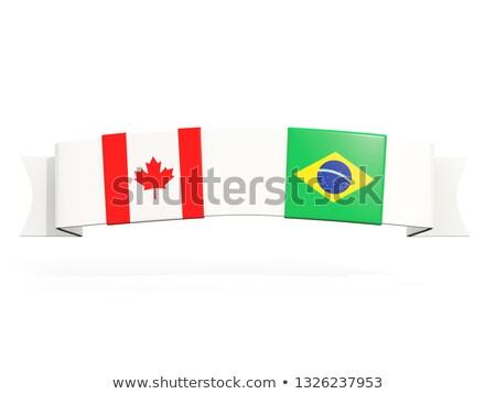 Bandeira dois praça bandeiras Canadá Brasil Foto stock © MikhailMishchenko