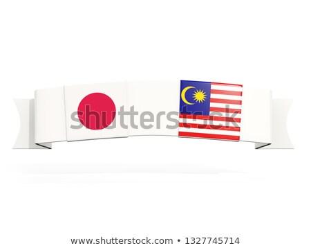 Afiş iki kare bayraklar Japonya Malezya Stok fotoğraf © MikhailMishchenko