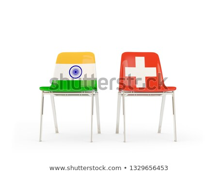 Two chairs with flags of India and switzerland Stock photo © MikhailMishchenko