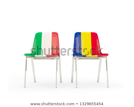 два стульев флагами Италия Румыния изолированный Сток-фото © MikhailMishchenko