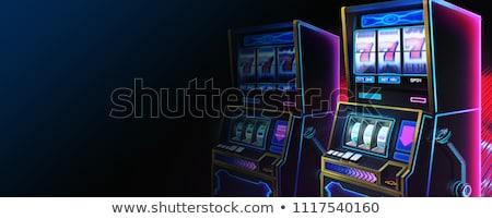 Játékautomata szalag fejléc szerencsés pici emberek Stock fotó © RAStudio