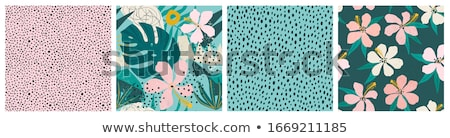 vector set with seamless patterns with floral design in pink on dark background stock photo © pravokrugulnik