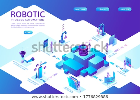 Robotics data analysis isometric 3D landing page. Zdjęcia stock © RAStudio