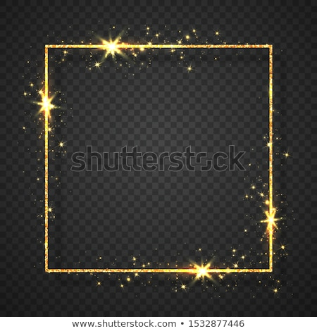 Gold shiny glitter glowing vintage frame with lights effects. Shining rectangle banner on black tran Stock photo © olehsvetiukha