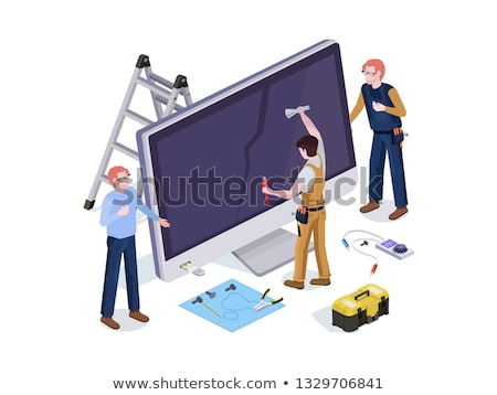 computer repair concept computer screen with working tools stock photo © kyryloff