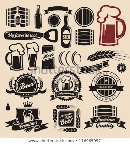 Bottle And Glass Of Beer Vintage Tavern Vector Stock photo © pikepicture