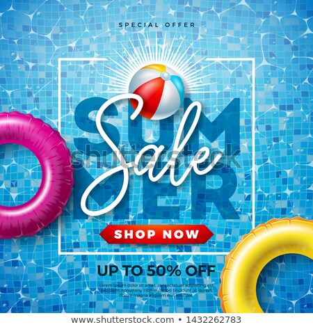 Summer Sale Design With Typography Letter And Float On Water In The Tiled Pool Background Vector Va Stok fotoğraf © articular
