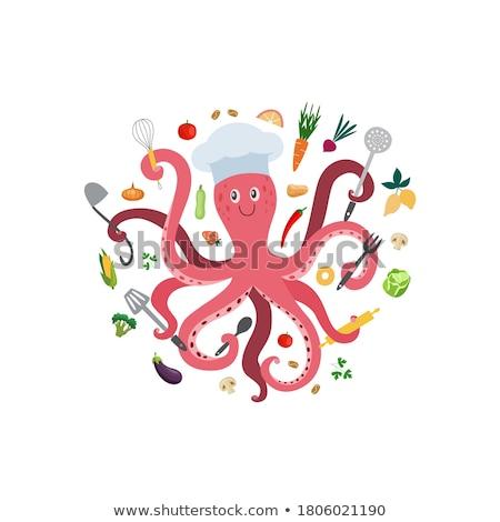 Blijde roze octopus cartoon witte kleur Stockfoto © liolle