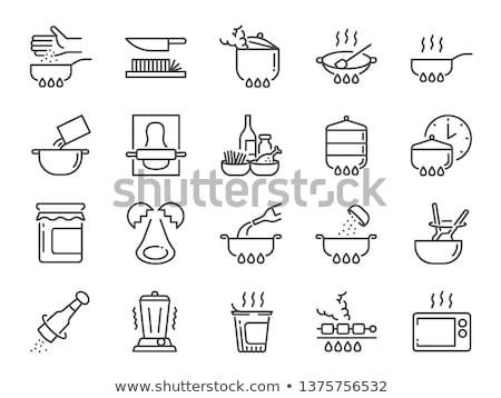 zout · peper · lijn · icon · vector · geïsoleerd - stockfoto © bspsupanut