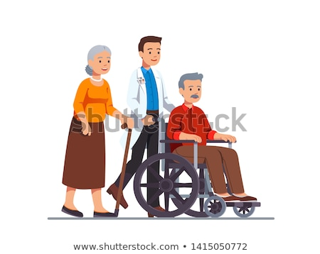 Family visiting grandfather in nursing home flat vector illustration Stock photo © Decorwithme