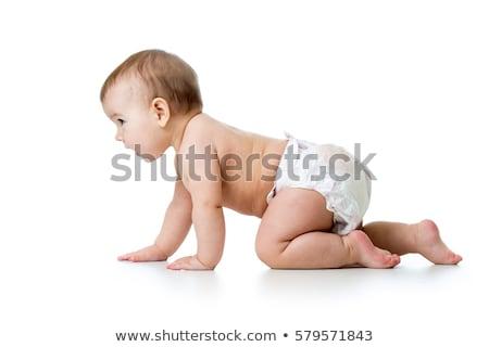 Foto stock: Bebê · fralda · menina · isolado · branco · cara