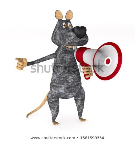 rat with megaphone on white background. Isolated 3D illustration Stock photo © ISerg