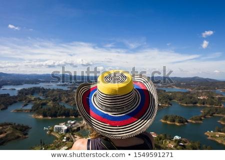 Fiatal nő tó Colombia víz tájkép zöld Stock fotó © boggy