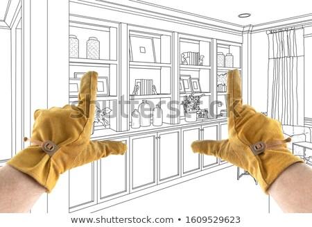 Férfi beszállító kezek terv rajz ház Stock fotó © feverpitch
