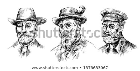 эскиз охотник человека борода рисованной орудий Сток-фото © netkov1